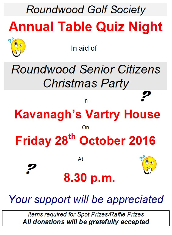 Table quiz fundraiser roundwood for Table quiz rounds